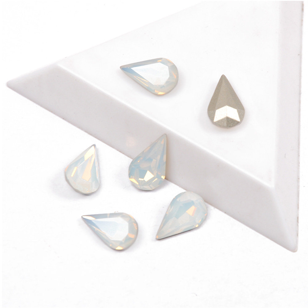 YANRUO 4300 Pear shaped Mix Sizes Crystal Glass White Opal Color Nails Art Rhinestones For 3D DIY Nail Art Decoration Gems
