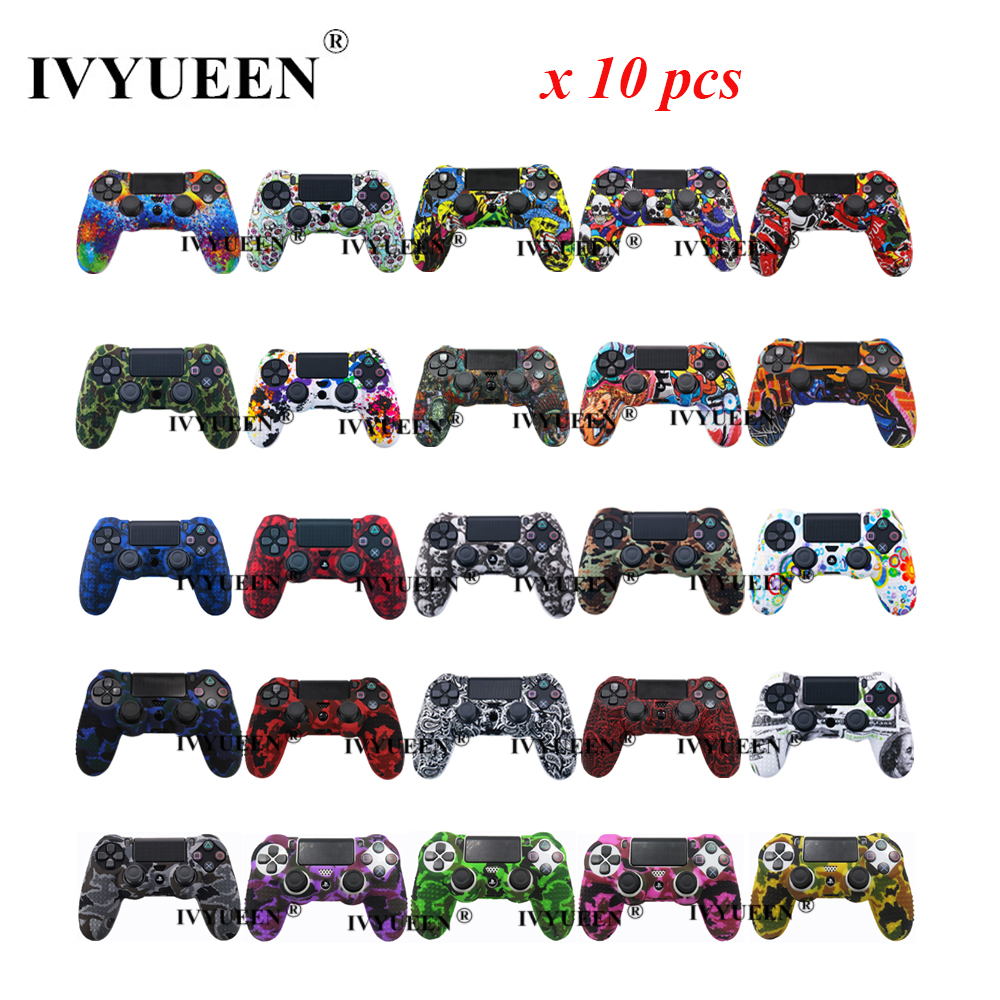 IVYUEEN 10 pcs For Sony PlayStation 4 <font><b>PS4</b></font> Pro Slim Controller Protective Skin Silicone <font><b>Case</b></font> Cover with Analog Thumb Grips Caps image