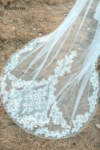 Image 3 - 2020 Long Lace Bridal Veils With Comb 3M Wedding Veils Appliques Cathedral 3 Meters Length Wedding Veils Bride Accessories