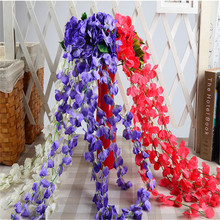 Artificial Flowers Hydrangea Rattan Wall Hanging Balcony Garden Ornaments Wedding Party Decor Home Decoration Fake Flowers garland flowers wedding decoration artificial hydrangea vine party plastic flowers wall decor rattan silk flower wisteria wreath