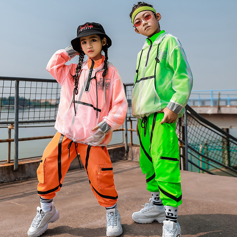 Hip Hop Costumes Boys Fashion Fluorescent Color Jazz Performance Clothing Girls Modern Dancing Stage Outfit Children Wear DN4579