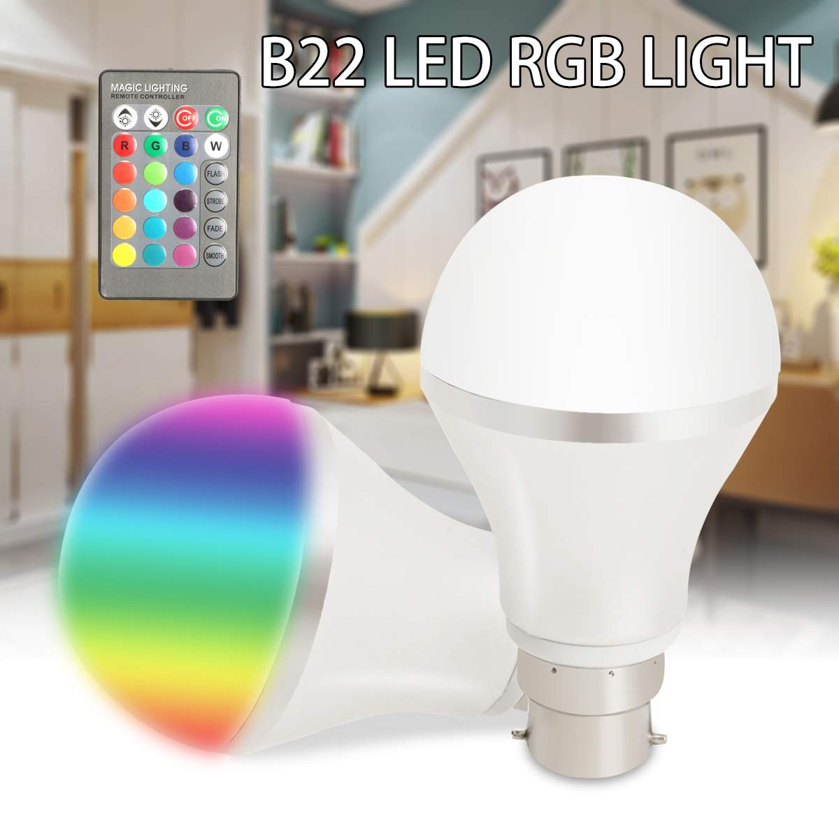 RGB LED Bulb B22 Dimmable Colour Changing Light Bulb 4W 85-265V Smart IR Remote Control for Home Living Room Decor