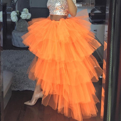 Falda de tul naranja alta baja para mujeres volantes de tul asimétrico tutú vestido de fiesta de graduación faldas Maxi Falda larga saia