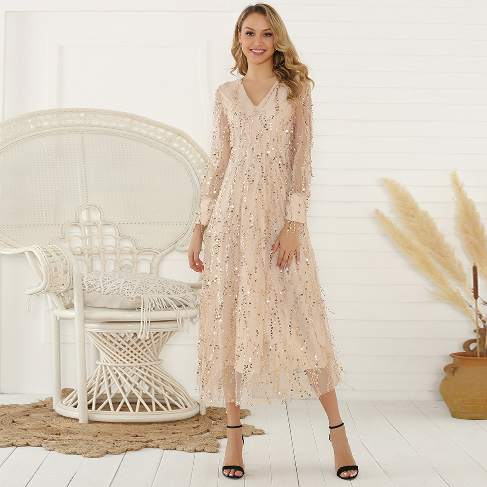 Elegant V Neck Women Prom Dress Long Sleeves Sequins Tulle Night Club A Line Ankle Length Wedding Party Formal Prom Dress