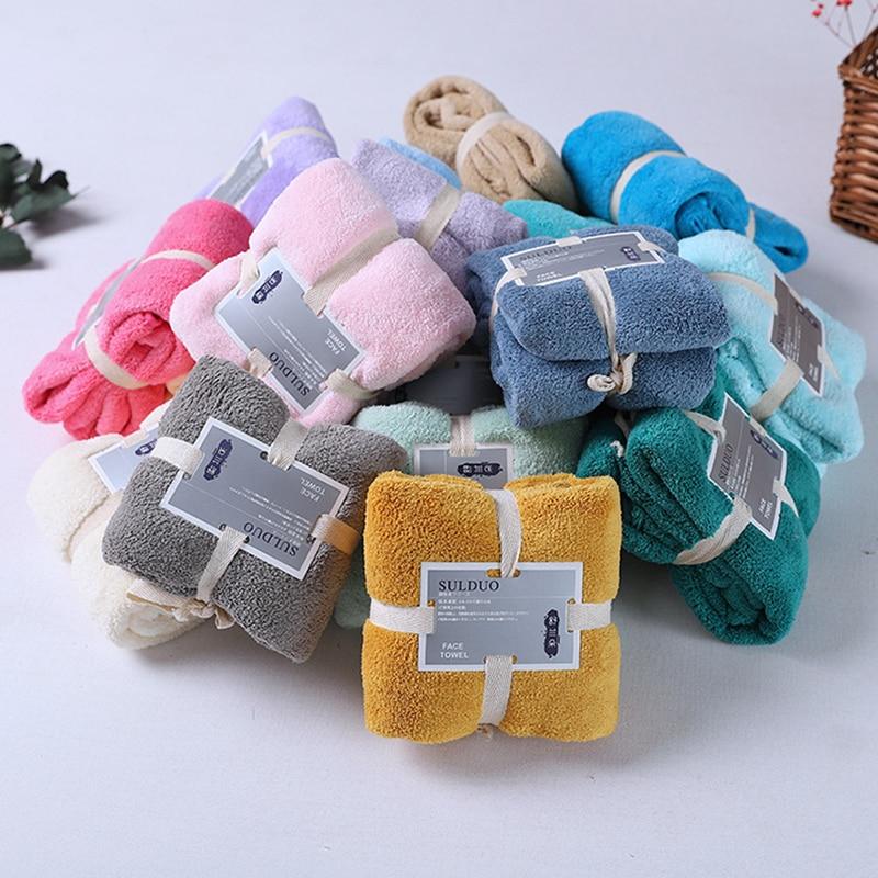 Serviette de bain multicolore en microfibre solide pour femmes 80x36cm, serviette de visage absorbante