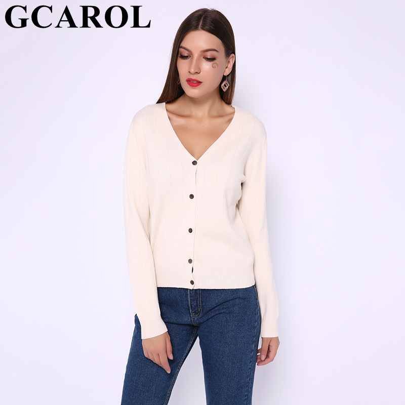 GCAROL New Women V Neck Cardigan Single Breasted Coarse Stripes Design Short Sweater Stretch OL Basic Render Knit Jacket