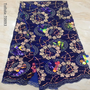 Luxury Fabric High Quality African Lace Fabric Hand made Sequins Velvet Lace Fabric Nigerian Bridal Wedding Lace Fabric