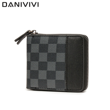 Money Purse Card-Holder Zipper Wallet Plaid Men's Luxury Brand Short Anti-Theft Man