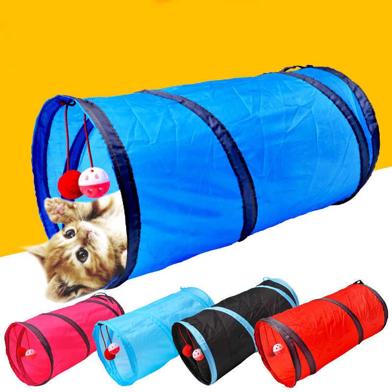 애완 동물 고양이 터널 2 구멍 놀이 튜브 공 Collapsible Crinkle 새끼 고양이 장난감 강아지 흰 족제비 토끼 놀이 개 터널 튜브