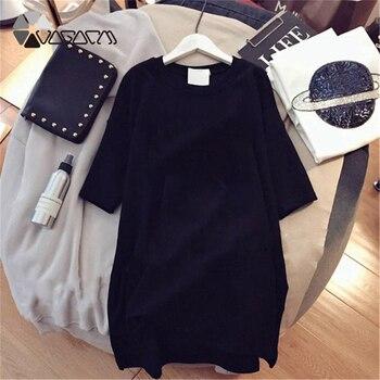 Women Dresses NEVER Series Letter Plus Size Black Mini Dress Loose Summer Long T Shirt Casual Clothes Femme Tops White Sukienka 10