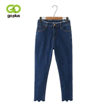 GOPLUS High Waist Jeans Plus Size Women Large Blue Black Denim Pencil Pants Grande Taille Femme Spodnie Damskie C9562