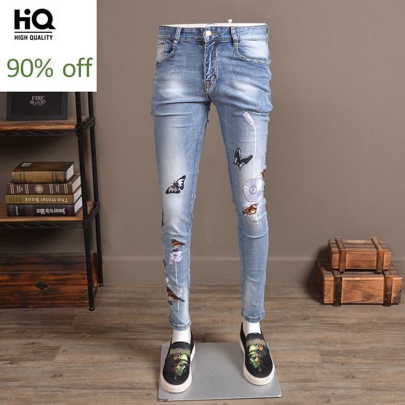 Harajuku Design Stretch Jeans Men Slim Flower Animal Embroidery Casual Denim Pencil Pants High Quality Summer Cargo Trousers