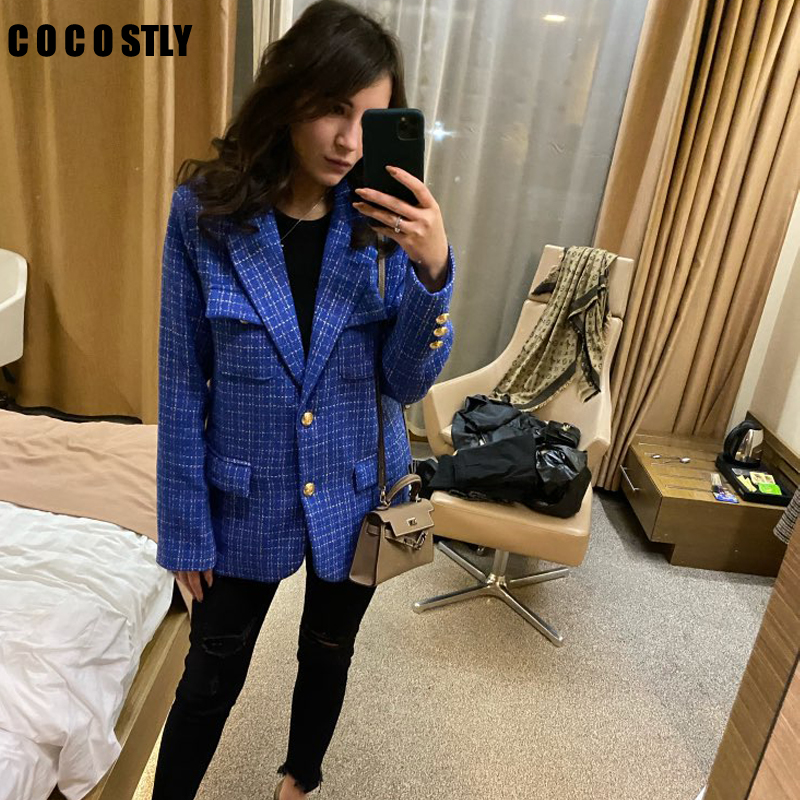 Women Plaid Tweed Blazer Autumn Winter 2020 Long Sleeve Single Breasted Tweed Jacket Office Lady Casual Outerwear Blazer Femme