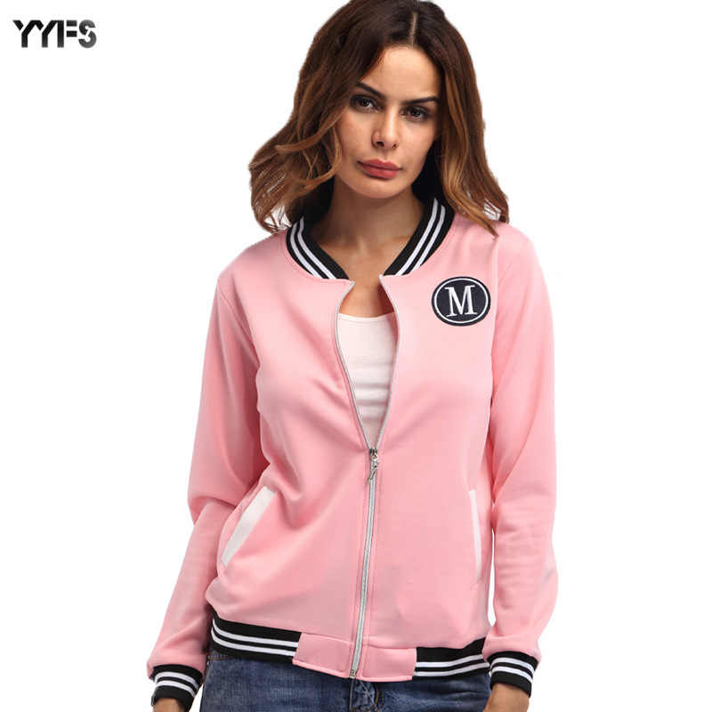 Ebay Aliexpress Amazon Buitenlandse Handel Hot Selling M Woord Badge Zip-Up Jas Dames Jurk Stand Kraag Lange Mouwen slim Fit Jack