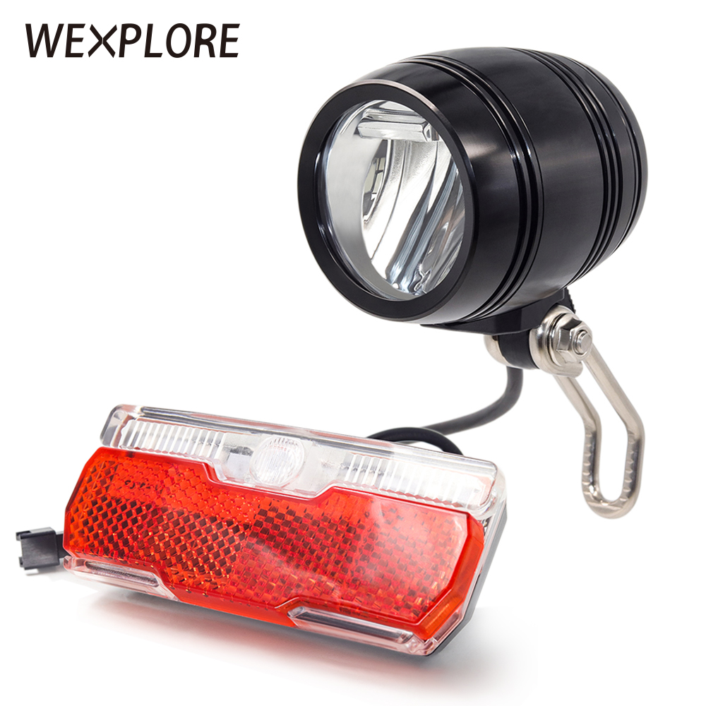 Ebike Light Electric Bicycle Light With Headlight And Rear Light Set Input 24V 36V 48V 64V LED Lamp E Bike Fornt And Tail Light