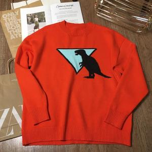 Image 4 - Fall Winter Women Sweater Thick Warm Animal Pattern O Neck Long Sleeve Orange Fashion Knitted Pullovers Casual Top C 306
