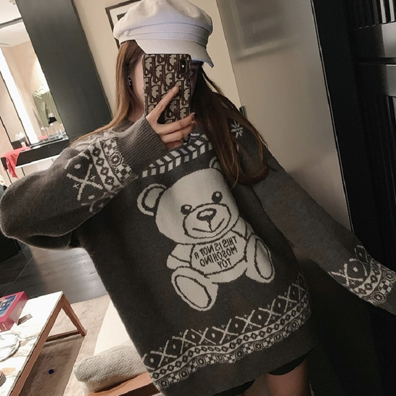GRUIICEEN Korea Lazy Style Cartoon Bear Knitted Woman Sweater 2019 Winter O-neck Pullover Sweater GY2019909