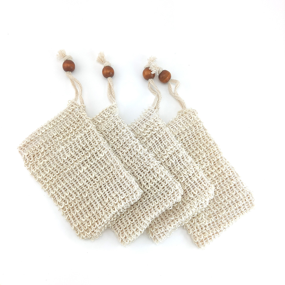 5Pc Natural Exfoliating Eco-firendly Soap Bag Organic Sisal Hemp Bag Soap Bags With Rope For Bathroom