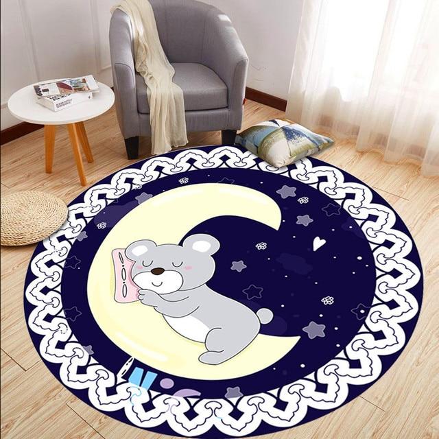Фото детский мультяшный эко ковер круглый напольный коврик для спальни