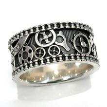 Huitan ręcznie rzeźbione Unisex pierścienie przekładnia mechaniczna wzór Hiphop Rock Party kobiety/mężczyźni duże antyczne pierścienie biżuteria Dropshipping