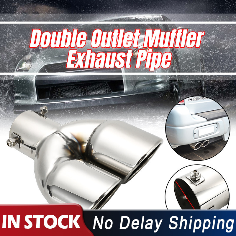 63mm Double Outlet Stainless Steel Chrome Car Muffler Exhaust Pipe Tip End Trim Modified Tail Throat Liner Pipe Silver image