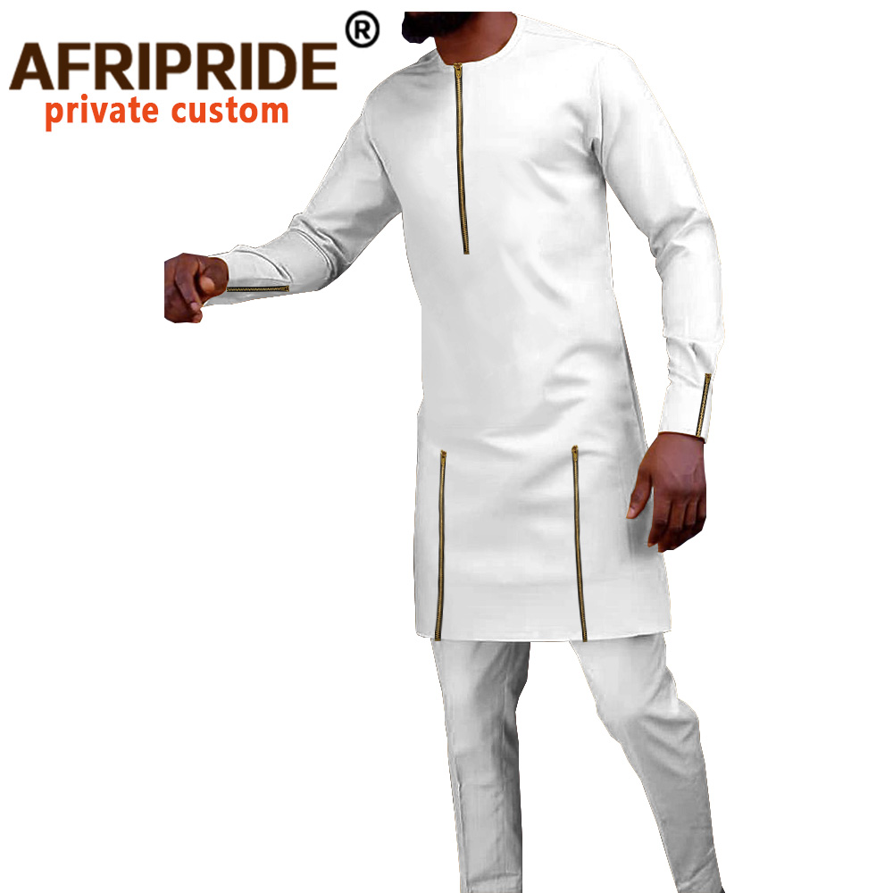 Tracksuit Men African Clothing Dashiki Shirts and Trouser 2 Piece Set Outfits Bazin Riche Long Sleeve Plus Size Attire A2016028