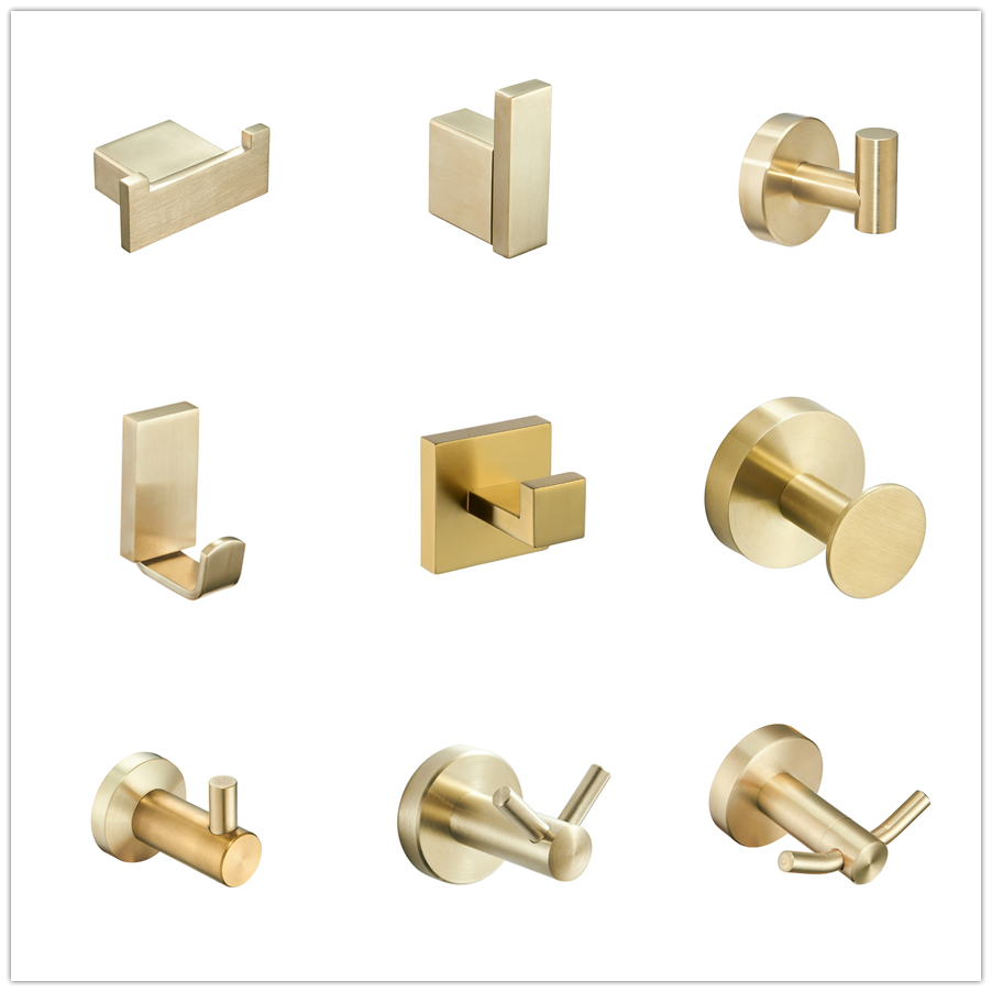 Stainless Steel Brushed Gold Robe Hook Wall Mounted Towel Hook Clothes Hook Bathroom Kitchen Door Hook Hardware