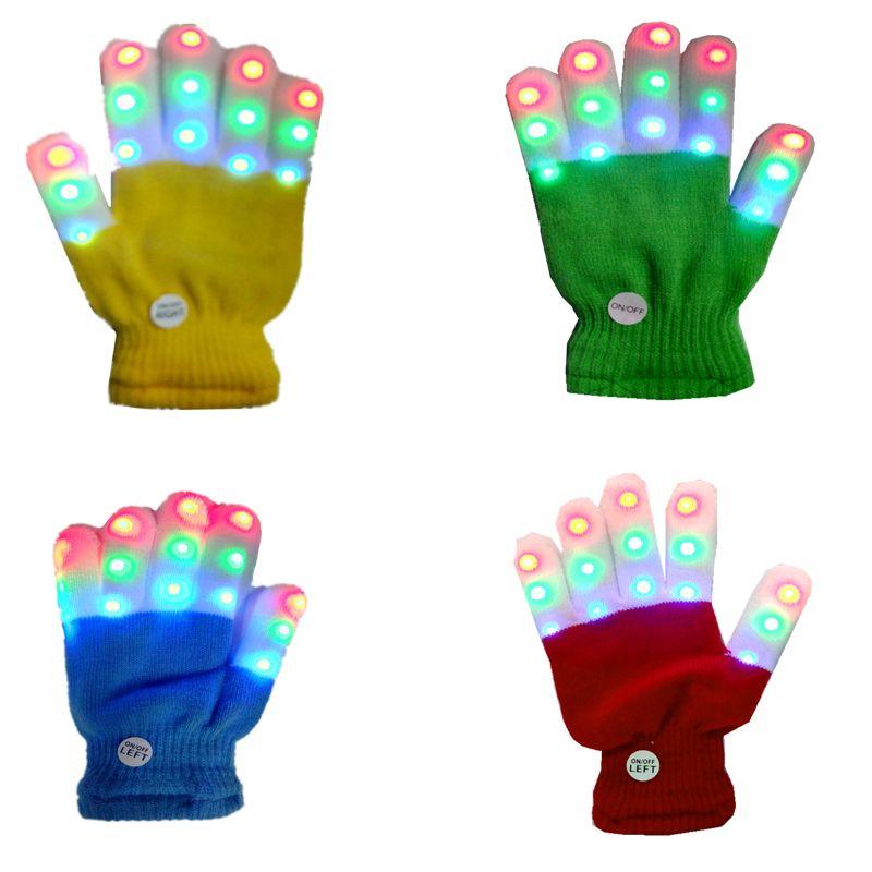 Child LED Finger Light Up Gloves,Small 6 Modes Flashing LED Warm Gloves Colorful Glow Flashing Novelty Toys for Kids Boys Girl