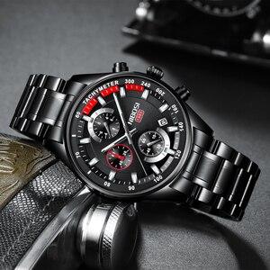 Image 2 - NIBOSI メンズウォッチトップブランドの高級スポーツクォーツクロノグラフ鋼男性時計ミリタリー防水クロノグラフレロジオ Masculino