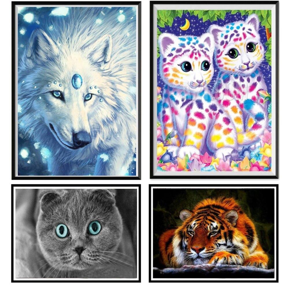 Diamond painting full diamond DIY animal series cat 5D diamond embroidery handmade cross stitch paste diamond mosaic