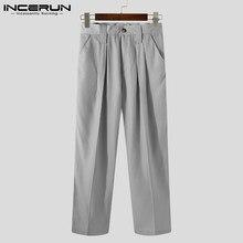 INCERUN 2021 Mode Pantalon Décontracté Homme Bouton Couleur Unie Coréen Loisirs Pantalon Business Hommes Streetwear Poches Pantalon S-5XL