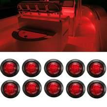 10x barco marinho 3/4 Polegada redondo vermelho 3 led chrome transom luz de navegação