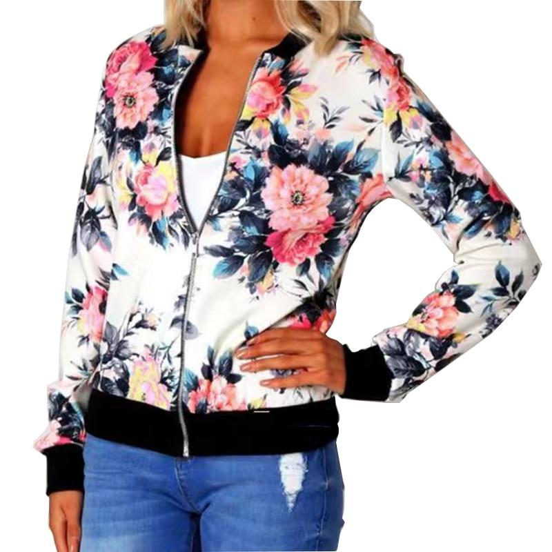 Woman Coat Plus Size Printed Bomber Jacket 2020 Women Pockets Zipper Long Sleeve Coat Female Flower Innrech Market.com