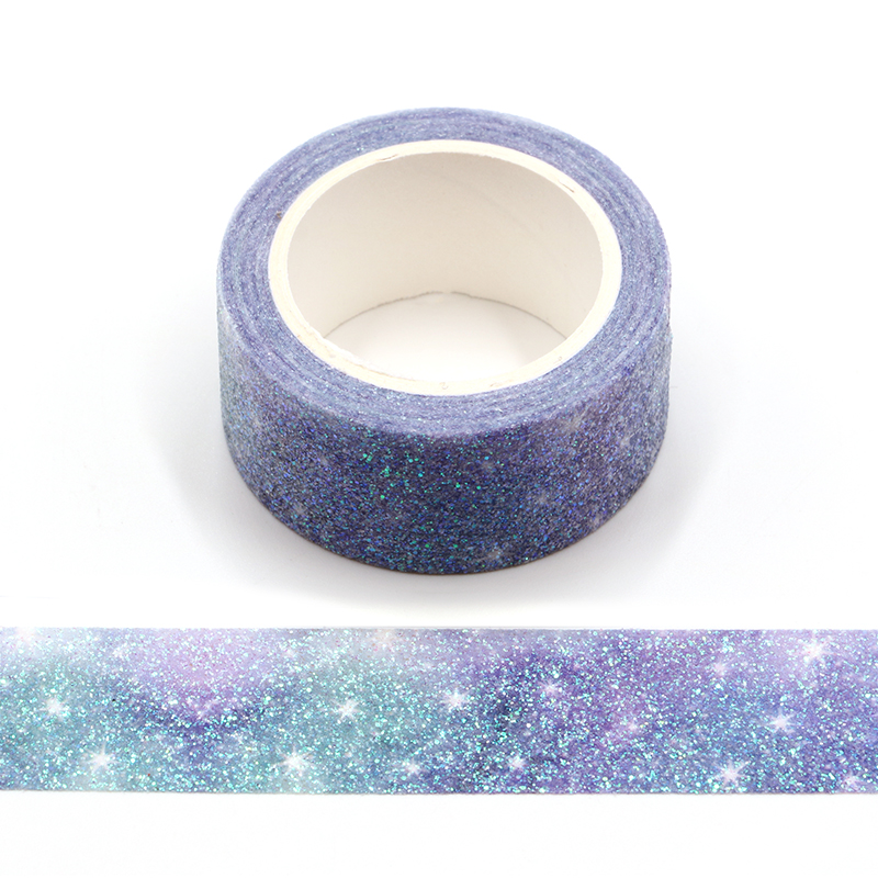 Starry Sky Sparkle Bullet Journal Glitter Washi Tape Cute Decorative Adhesive Tape DIY Scrapbooking Sticker Label Stationery