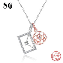 цена New Design 925 Sterling Silver Envelope Rose Pendant Necklaces With Clear CZ Women Silver Jewelry For Lover Gift Free shipping онлайн в 2017 году