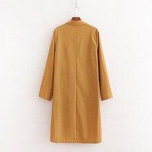 Женское платье западный стиль длинный свободный двубортный льняной Тренч Женский H2002