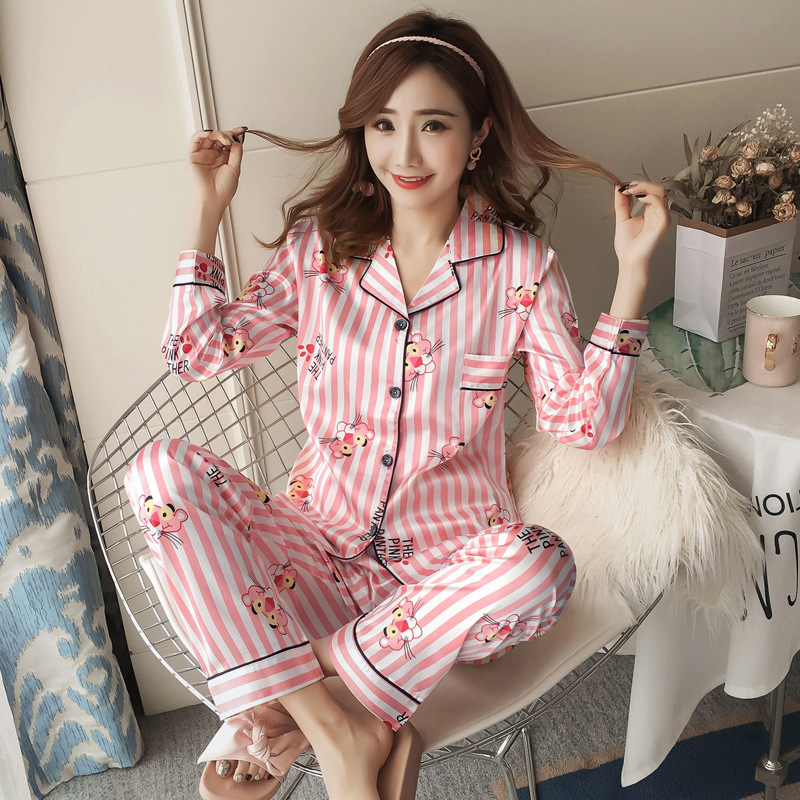 2019 Spring And Autumn Model Silk Long Sleeve Pajamas Women's Cartoon Vertical Striped Printed Pink Panther Women's Tracksuit Ca