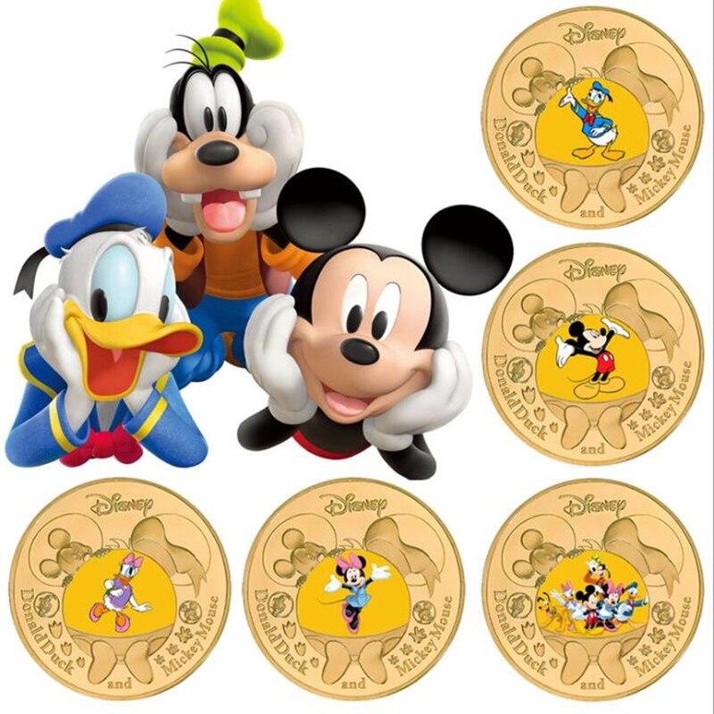 Памятные монеты «Микки Маус» Disney, карта для монет с надписью «Холодное сердце», металлическая позолоченная Коллекционная игра, Детские Мул...