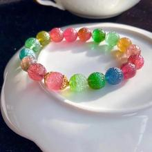 Top Quality Natural Colorful Tourmaline Clear Carved Round Beads Bracelet 10.5mm Women Men Crystal Tourmaline AAAAAA Certificate