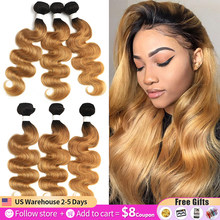 T1B/27 Ombre Brazilian Body Wave Hair Bundles 8-26 Inch Honey Blonde Human Hair Extension 1/3/4 PCS Non-Remy Hair Weave Bundles