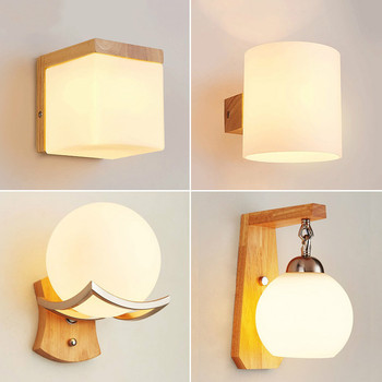 Japanese Decoration Wall Wood Lamp Glass Lampshade Bedroom Entrance Aisle Indoor Home Lights E27 LED Nordic Bedside Wall Light european style glass lampshade wall sconces e27 fashion retro metal base wall lamp balcony aisle bedroom bedside wall light w296