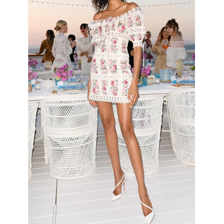 Kadın Giyim'ten Elbiseler'de Kadın Çiçek Baskı Bohemian Elbise Pilili dikiş dantel Plaj Kısa Kollu Elbise Bir kelime yaka Seksi Mini Elbise'da  Grup 1