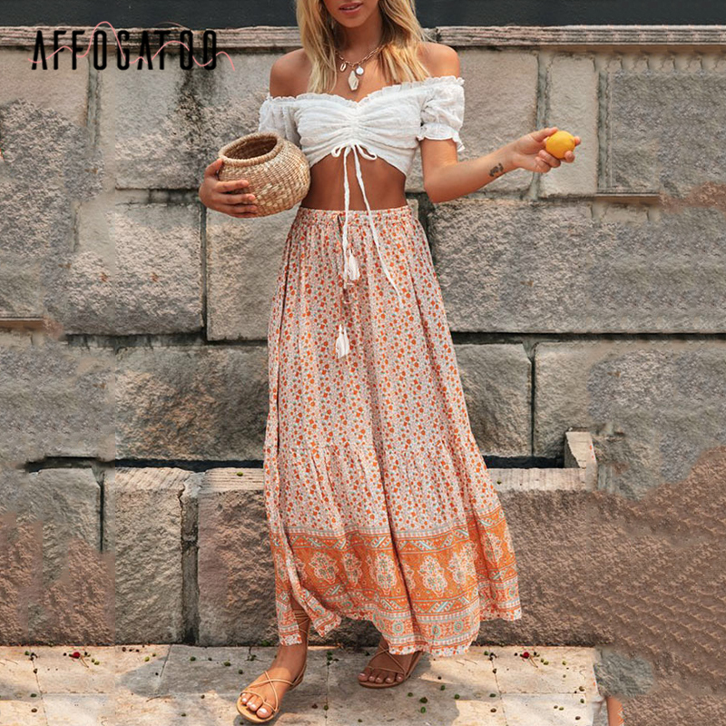 Affogatoo Casual Holiday Bohemian Floral Print Women Summer Skirt Tassel Elastic Waist Female A-line Long Skirt Ladies Skirts