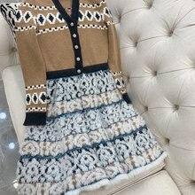Новая женская мода с длинным рукавом v-образным вырезом сплайсинга платье кардиган 1115