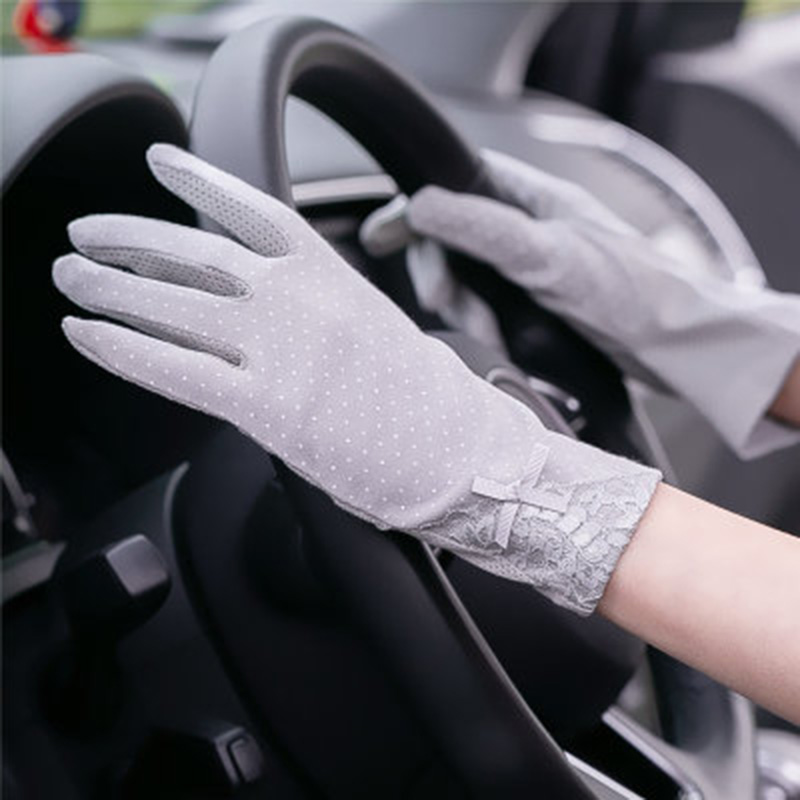 Summer Women's Thin Cotton Anti-UV Touch Screen Gloves Female Elegant Full Finger Bow Lace Gloves Driving  Sunscreen Gloves C49