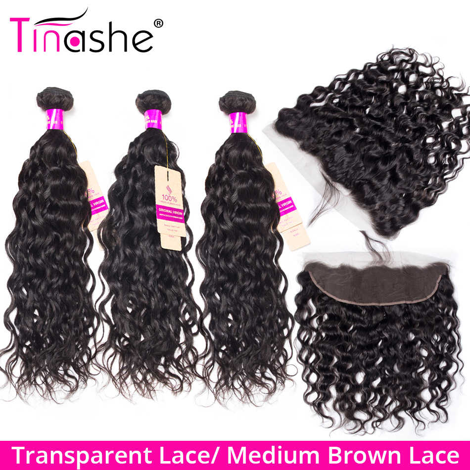 Tinashe Hair Brazilian Water Wave Bundles With Frontal Remy Human Hair Bundles With Closure Transparent Lace Frontal With Bundle