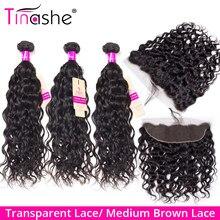 Mèches brésiliennes Remy avec Closure-Tinashe Hair, cheveux naturels ondulés, avec Lace Frontal Transparent en lot