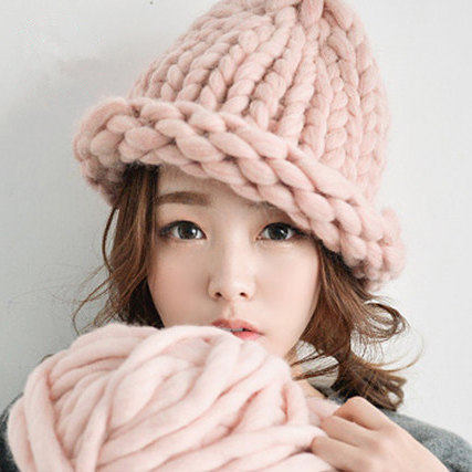 Causal Winter Knitted Hats For Women Fashion Keep Warm Manual Wool Knitted Earmuffs Soft Hats Adult Caps High Quality Female