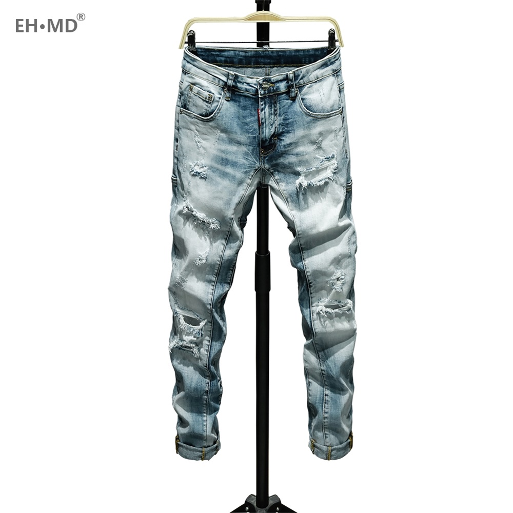 EH · MD® Ripped Scratch Jeans Men's Embroidered Rainbow Pocket Soft Casual Loose Cotton Elastic Pants Red Leather Label New 2020