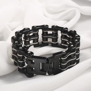 Image 5 - Motorcycle chain bracelet black mens titanium steel bicycle chain bracelet punk three layer stainless steel bicycle bracelet